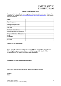 Career break application form