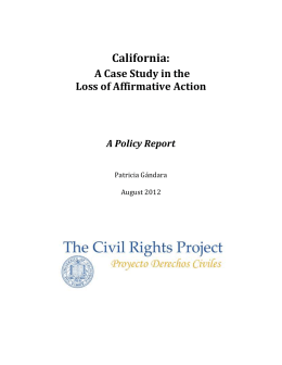 California: A Case Study in the Loss of Affirmative Action