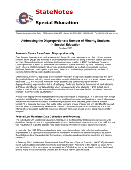 Addressing the Disproportionate Number of Minority Students