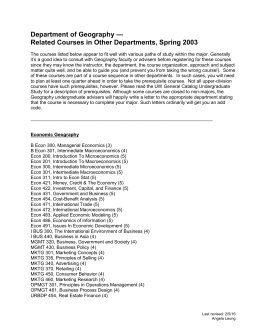 Spring, 2003: Courses To Take in Other Departments