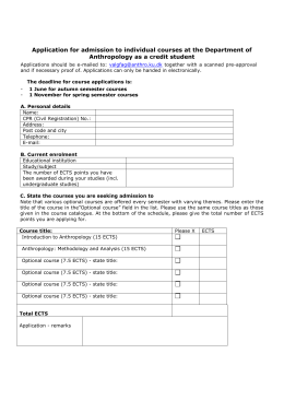 Application for admission to individual courses at the Department of