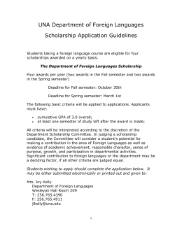 Department of Foreign Languages Scholarship Application and