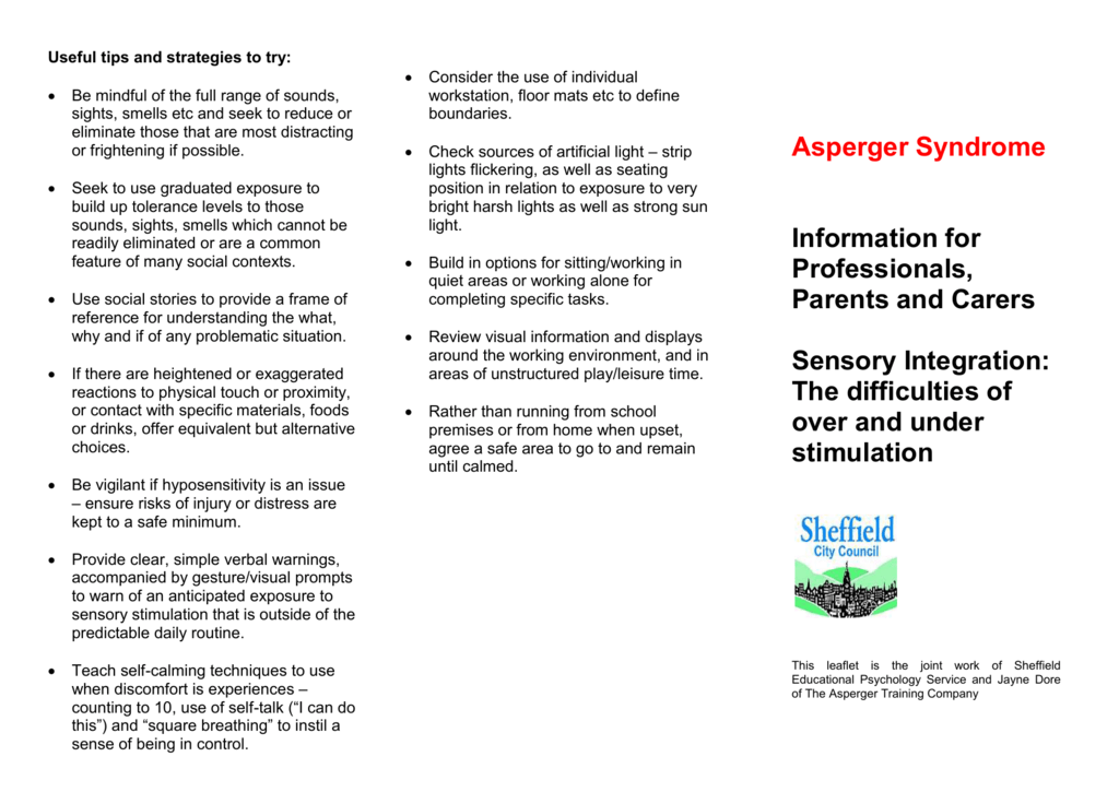 Asperger`s Syndrome: Sensory integration
