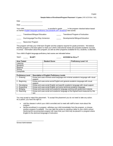 Sample Notice of Enrollment/Program Placement 1