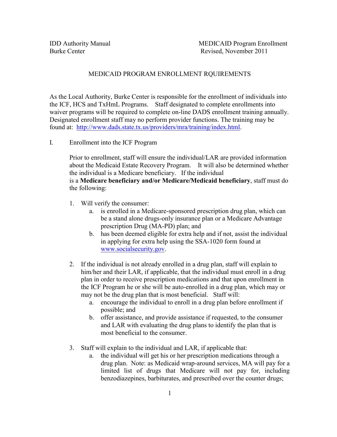 medicaid program enrollment rquirements