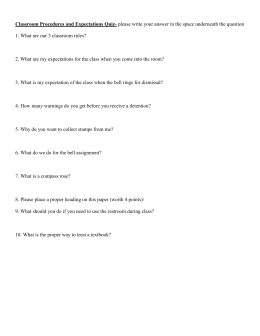 Classroom Procedures and Expectations Quiz