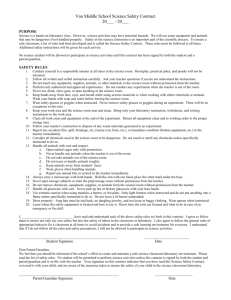 Van Middle School Science Safety Contract