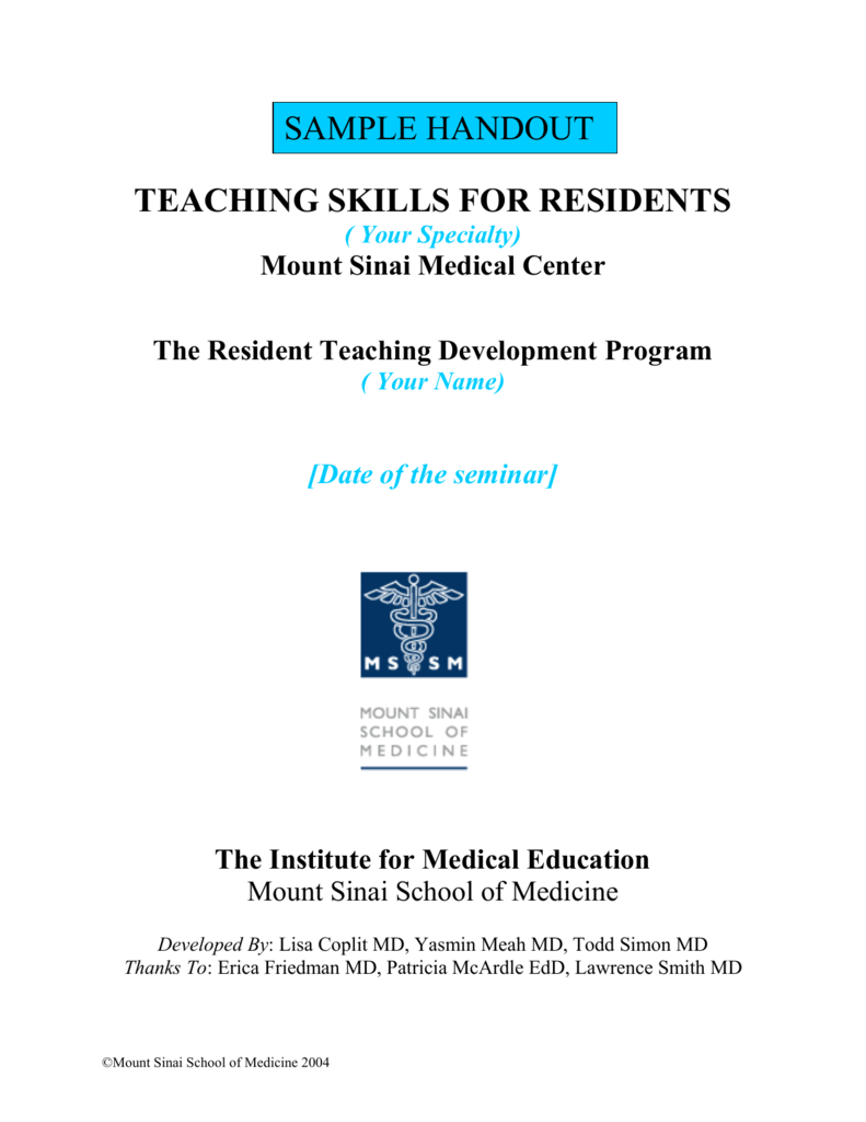 Handout for Residents - Icahn School of Medicine at Mount Sinai