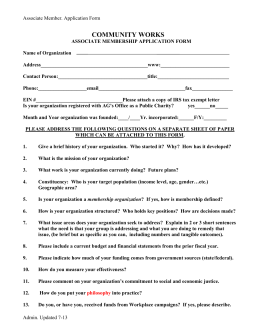 CW Associate Member Application Form