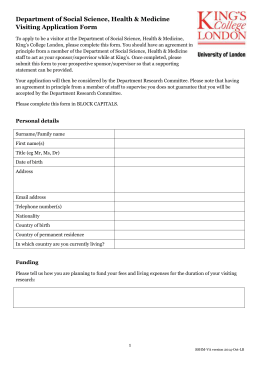 application form - King`s College London