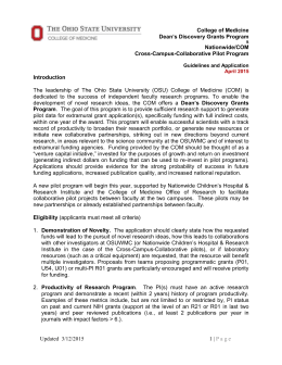 COM Discovery and NCH Collaborative Pilot Program Guidelines