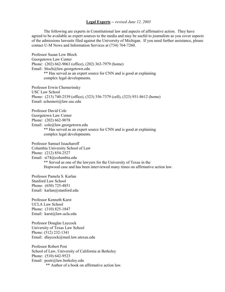 Legal Experts - University of Michigan