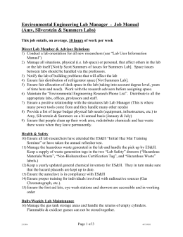 Lab Manager Job Manual