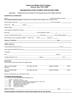 Special Student Application Form - Hobart and William Smith Colleges