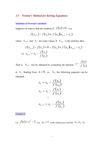 3.5 Newton`s method for solving equations