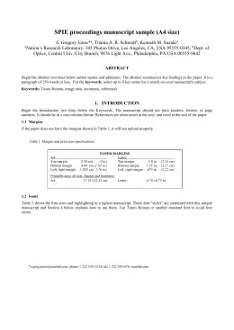 Spie proceedings manuscript sample (u. S. Letter size) pdf.