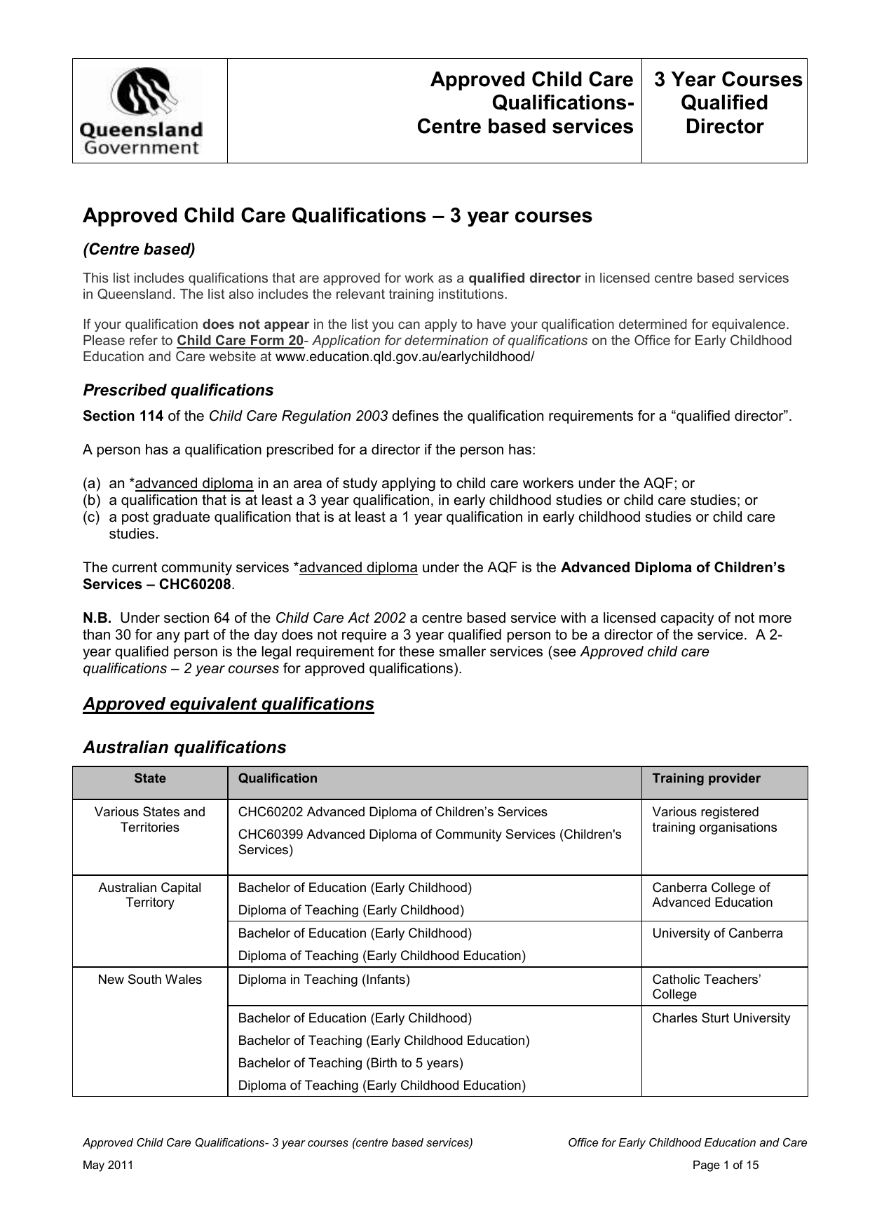 3 Year Qualification The Department Of Education And Training