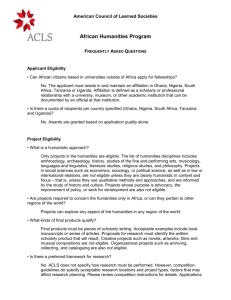 ACLS African Humanities Program - American Council of Learned