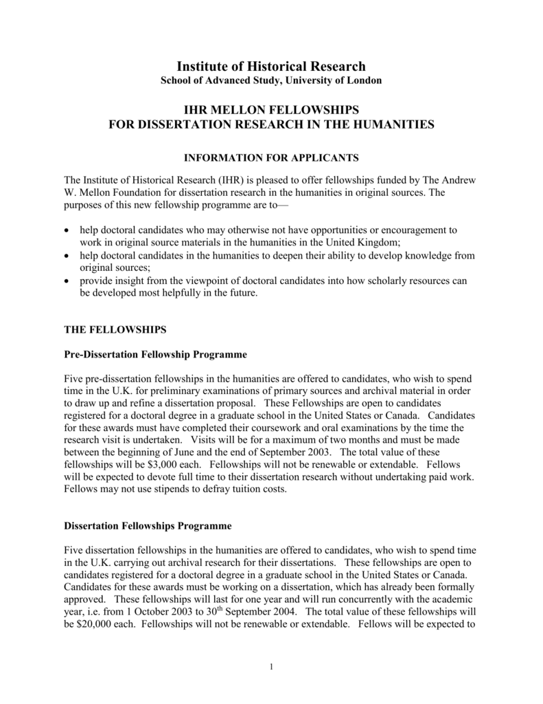 ihr mellon dissertation fellowships
