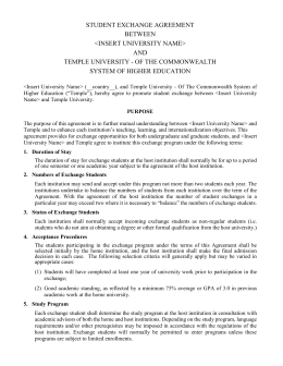 STUDENT EXCHANGE AGREEMENT