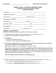 Arts Final Report Form - Passaic County Community College