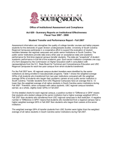 USC Transfer Report - Regional Campuses