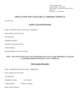 APPLICATION FOR CLASROM EXTENSION APPROVAL