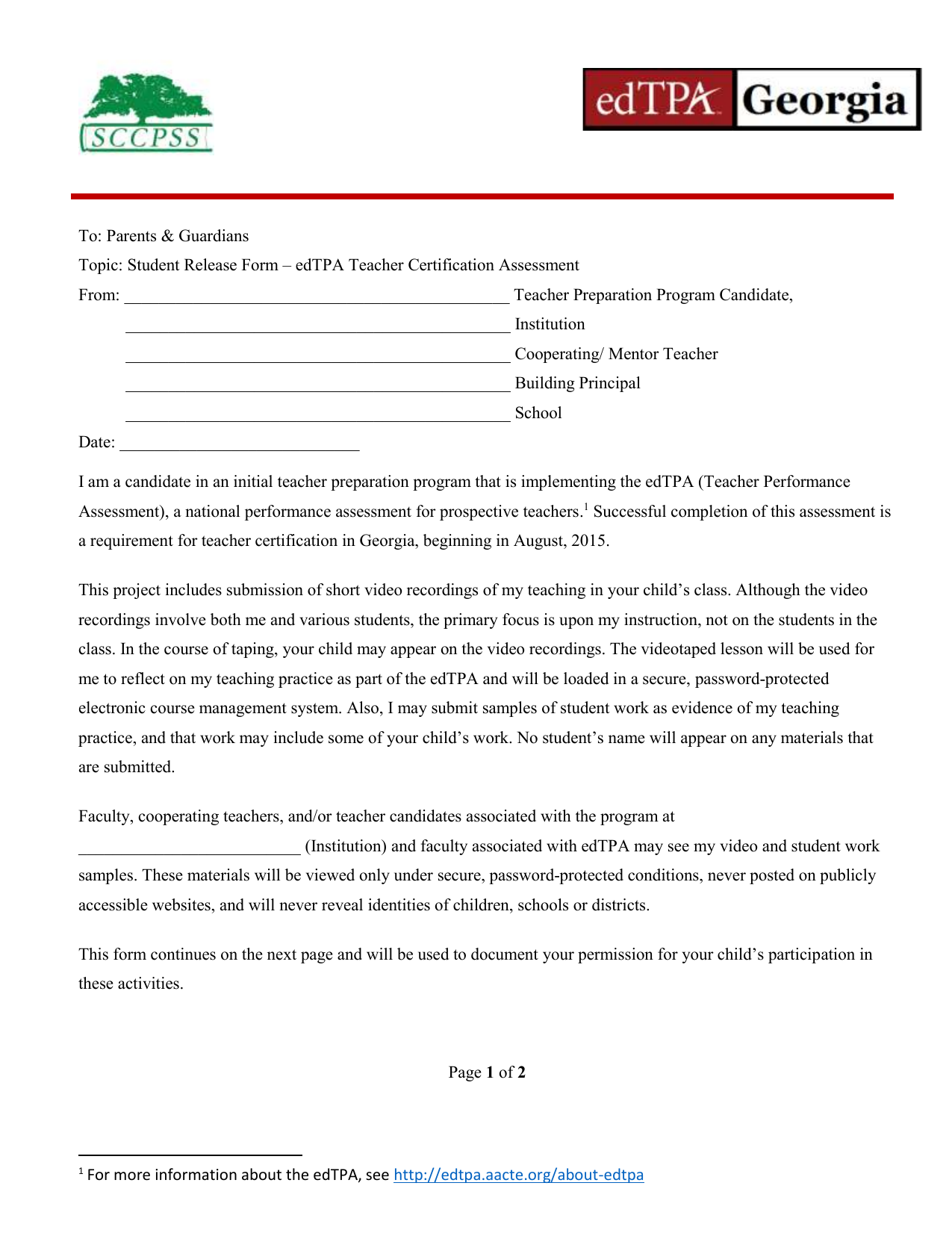 To Parents Guardians Topic Student Release Form Edtpa