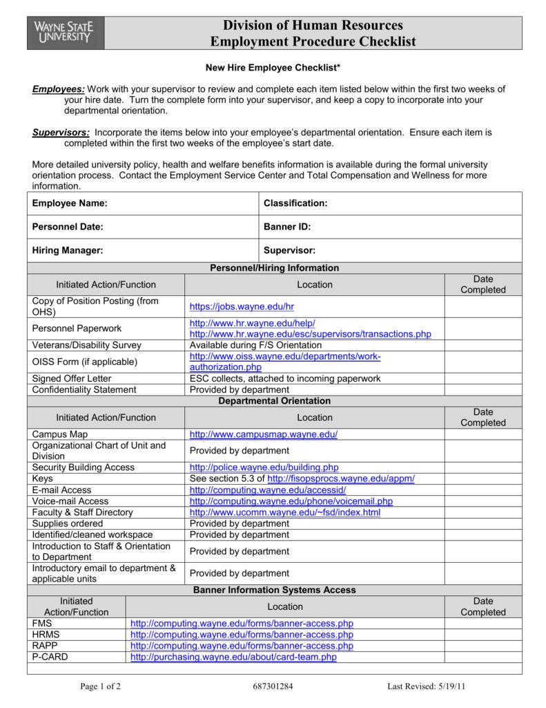 New Hire Checklist - Wayne State University