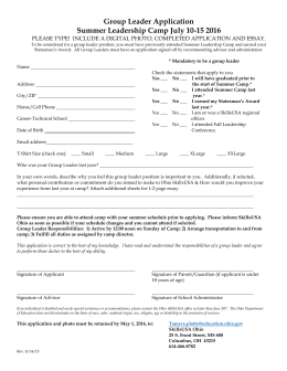 Summer Leadership Group Leader Application