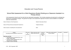 Risk assessment for work experience in a school