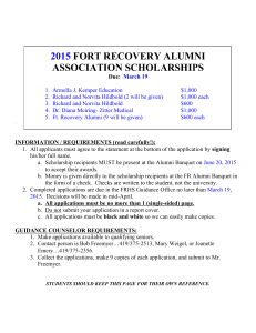 FORT RECOVERY ALUMNI ASSOCIATION SCHOLARSHIP