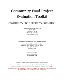 Community Food Project Program Satisfaction Survey