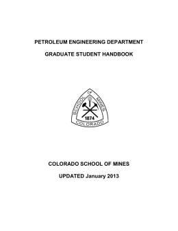 PE Graduate Student Handbook - petroleum engineering colorado
