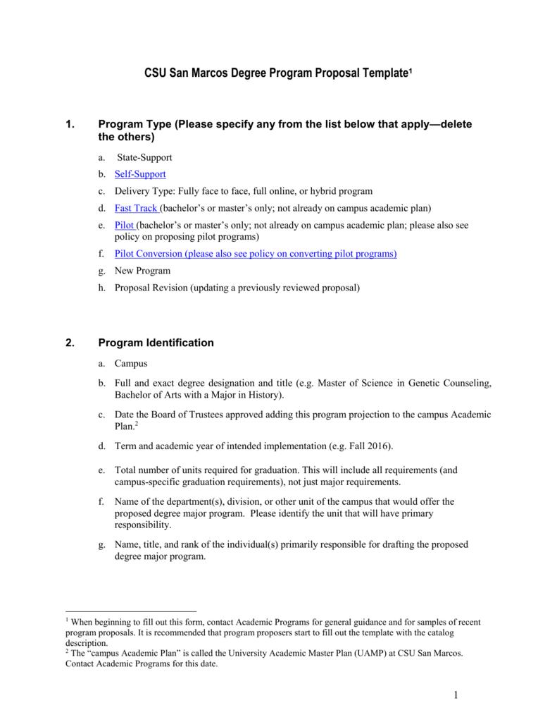 New Program Proposal Template California State University San
