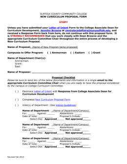 New Curriculum Proposal - Suffolk County Community College