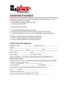 RxPlus Scholarship Application - University of Colorado Denver