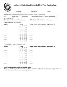 Arts and Activities Student of the Year Application
