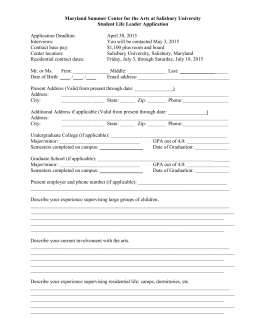 Student Life Leader Application - Salisbury