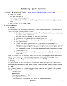 Scheduling Tips and Resources University Scheduling Website