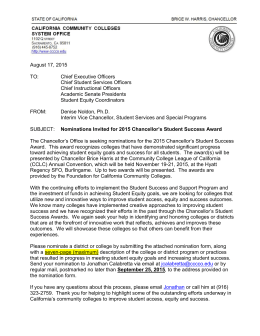 Student Success Awards Call for Nominations 2015