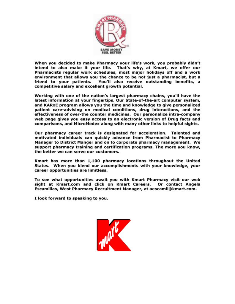 KMART PHARMACIST BENEFITS PROGRAM FOR FIELD