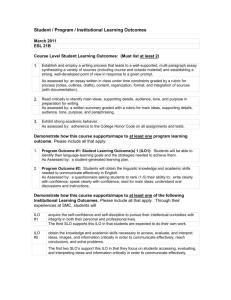 Student / Program / Institutional Learning Outcomes