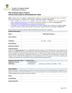 MSc Program: Pre-Admissions Approval Form