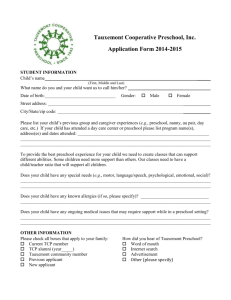 Tauxemont Cooperative Preschool, Inc. Application Form 2014