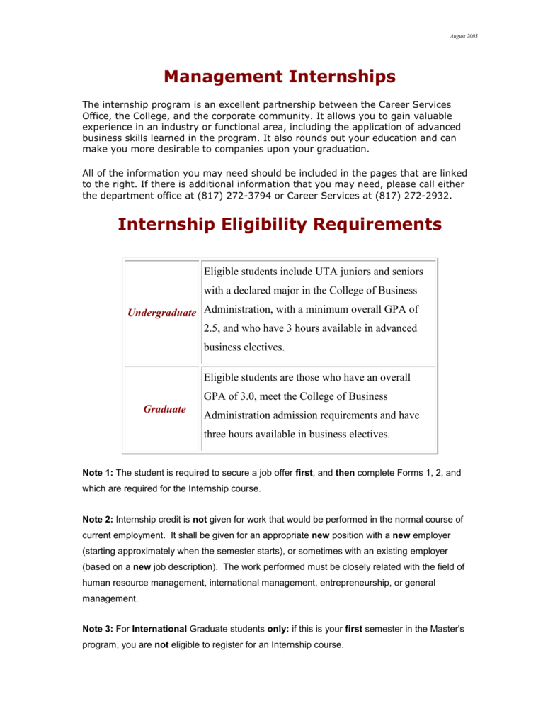 Internship Eligibility Requirements