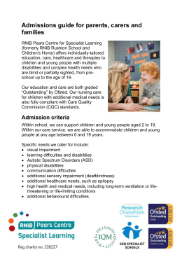 Admissions guide for parents, carers and families