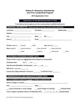 APPLICATION FOR ELINOR SHAFFER SCHOLARSHIP FOR