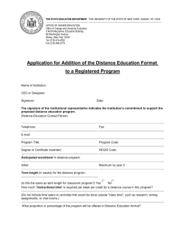Distance Education Program Application