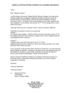 sample letter notifying students of academic dishonesty